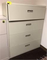 Four drawer horizontal metal filing cabinet