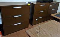 Three drawer horizontal metal filing cabinet