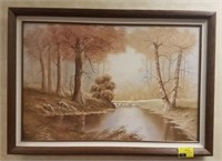 Framed painting on canvas measures approximately
