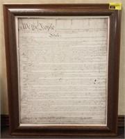 Framed copy of 'Declaration of Independence'