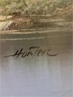 Framed painting on canvas signed by Hunter