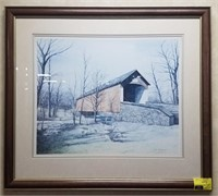 Framed print measures approximately 36x32