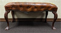 Tufted leather upholstered benches