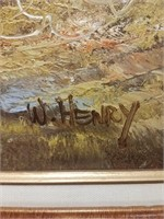 Framed painting on canvas signed by W. Henry