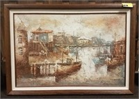Framed painting on canvas signed by Barton