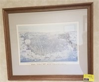 Framed print measures approximately 26.5x22.5