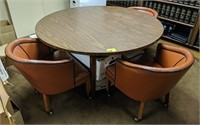 Round wood table with 3 matching chairs