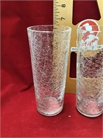 Five stylized crackled glass tumblers