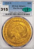 $50 1915-S PANAMA-PACIFIC ROUND PCGS MS65+ CAC