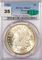 $1 1921 MORGAN PCGS MS67 CAC CORONET COLLECTION