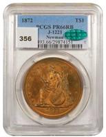 T$1 1872 TRADE J-1221 PCGS PR66RB CAC EX NEWMAN