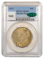 50C 1839 REEDED EDGE PCGS MS62 CAC