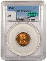 1C 1920-D PCGS MS66RB CAC