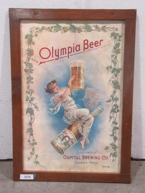 Lot 2370fn Olympia Beer Poster In Wood Frame 24 X 34