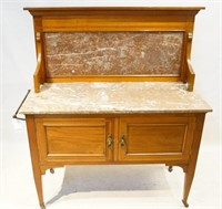 English Marble top Inlaid Washstand