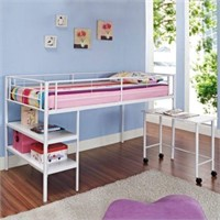 TWIN LOFT BED WITH DESK AND SHELVES
