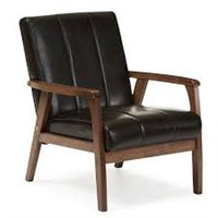 MID-CENTURY LEATHER CHAIR(NOT ASSEMBLED)