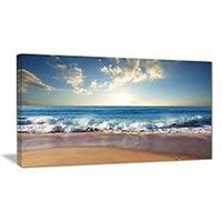 "SEA SUNSET PHOTOGRAPHY' ART ON CANVAS 32"" x 16"""