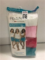 FRUIT OF THE LOOM WOMENS 4 BOXER BRIEFS SIZE 10