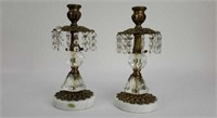 2 Brass and Marble Base Candle Holders