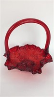 Ruby Red Glass Handled Basket, Rose Pattern