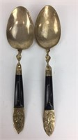 Siam Brass & Ebony Handle Serving Forks & Spoons