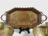19th Century Indian tray with Peacock pattern in center