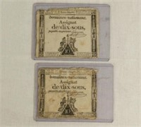Two France First Republic bank notes,  Loi du 24 octobre 1792, Series 600 & 1669, Domaines Nationaux Assignat de dix sous, payable au porteur, first notes without Louis XVI's effigy
