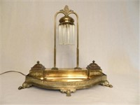 Art Deco desk set with light (condition noted on glass)