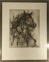 "Rare etching #35/75 by Jean-Paul RIOPELLE CC, GOQ (1923-2002), ""The Horse"" 1968, from Catalogue Raisonné des Estampes, 19 x 16 inches, estimate $1,500-$1,800"