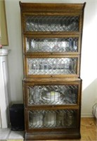 Barrister's step back stacking bookcase with leaded glass