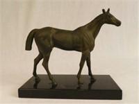 Horse patinated zinc on marble base, circa 1930