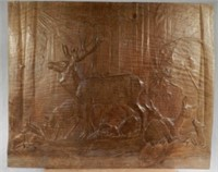 """Wood relief carving by  Oscar WALDMANN RCA (Geneva 1856-1937), titled """"Deer in summer"""", 20.5 x 25 inches, estimate $300-$500"""