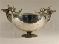 Silver plated footed bowl with pair of deer busts, 18 inches diameter