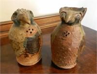 Salt and pepper pottery birds, signed