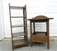 Mission style book shelf and reading table, marked