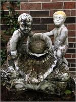 Cherub Clamshell Bird Bath Fountain