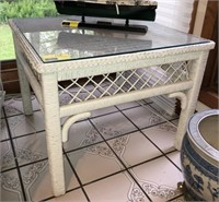 Rattan Side Table With Glass Top