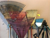 Lot of Garden Rakes, Tools, and More
