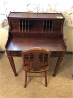 Vintage Wood Desk With Chair