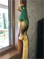 Hand Carved African Ebony Parrot With Pedestal
