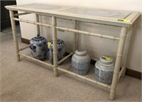 Asian Bamboo Style Sofa Table With Glass Inserts