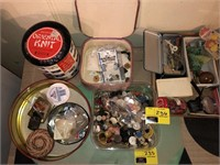 Large Lot Of Buttons and Sewing Materials