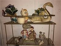 Wire Shelf With Decorative Items