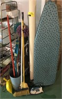 Cleaning Supplies  Includes Brooms, iron Board,