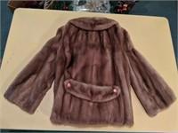 Genuine brown mink fur coat