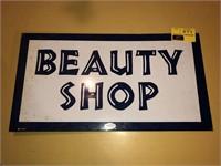 Vintage Double Sided Porcelain Flane Beauty Shop