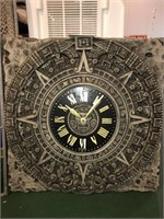 Decorative Aztec Clock With Stained Glass Window