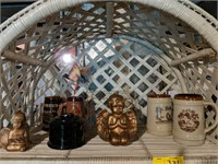 Wicker shelf with contents