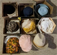 Large lot of vintage hats